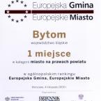 Europejska Gmina. Europejskie Miasto. Ogólnopolski ranking 2009